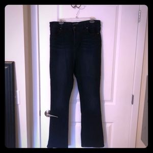 Limited High Waisted Slim Boot Cut Dark Jeans